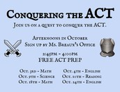 Trying to increase your ACT score? Don't miss out on this opportunity. Sign up now!