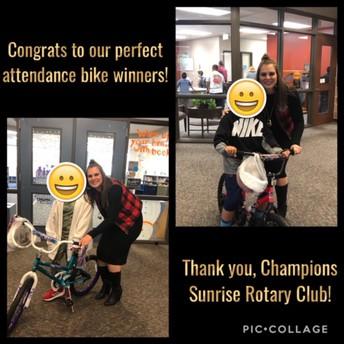 Perfect Attendance bike winners!