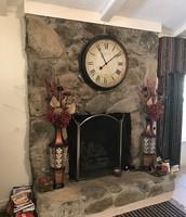 Cozy fireplace in den