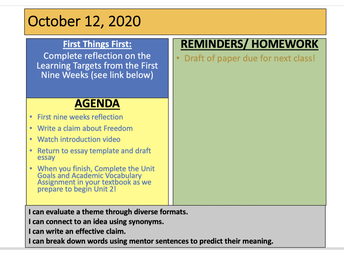 Sample Daily Agenda