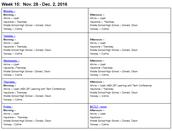 #BCTLT schedule 11/28 - 12/2/2016