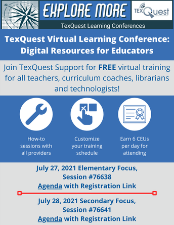 Virtual Learning Conference flyer with registration links