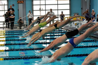 image of swimmers diving off blocs at start of competition