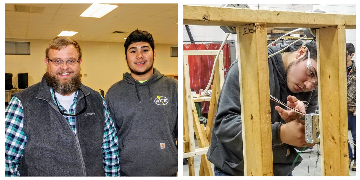 This is an image of two photographs. In the photograph on the left Southeast Bulloch High School Agricultural Mechanics Instructor and FFA Advisor, Brian Elrick, stands next to his student, Dimas Guillen. In the photograph on the right, Dimas Guillen is shown wiring an electrical outlet box.