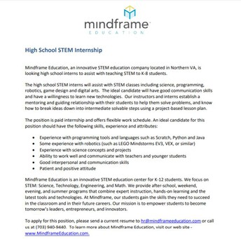STEM Internship Opportunity