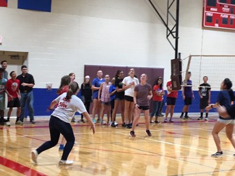 Volleyball, Football and Cross Country engaging in some friendly competition
