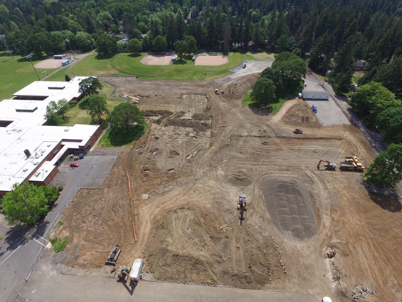 Excavation equipment on Lakeridge property
