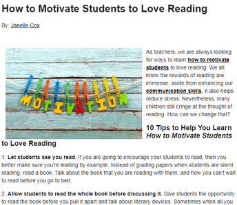 10 Tips to Help Motivate Students to Love Reading!