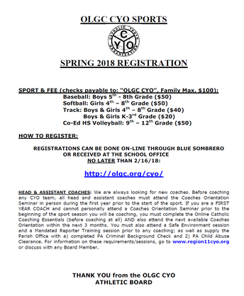 CYO Spring Sports Registration