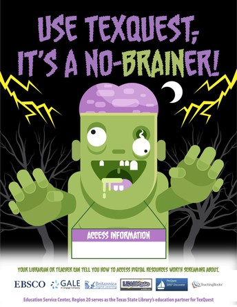 Thumbnail of TexQuest flyer with clipart Frankenstein image saying Use TexQuest, It's a No-Brainer!