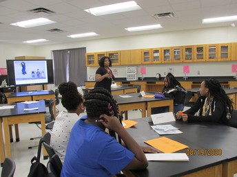 Students in classroom with Ms. Scott