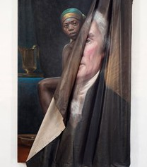 A canvas of a painting of Thomas Jefferson rolls off towards the right.  Beneath the painting, another painting of Sally Hemmings peaking out shows.  Her face is forlorn and her shoulders and knee peek out, both with bare skin.
