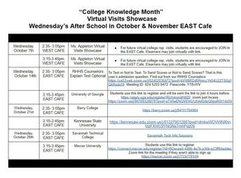 College Knowledge Month Calendar