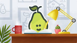 A pear writing at a desk