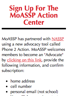 NEVER TOO LATE TO SIGN UP TO BE AN ADVOCATE THROUGH THE MoASSP ACTION CENTER