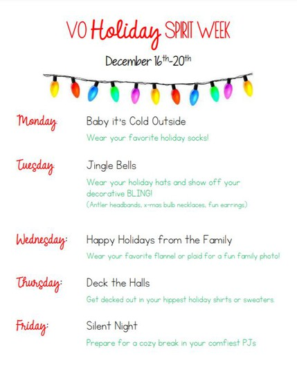 VO Holiday Spirit Week Flyer
