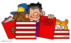 two cartoon students reading a yearbook