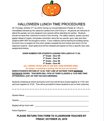 HALLOWEEN PROCEDURES