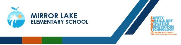 A graphic banner that shows Mirror Lake Elementary School's name and SMART logo