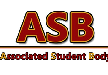 ASB, Associated Student Body in Red  & gold letters
