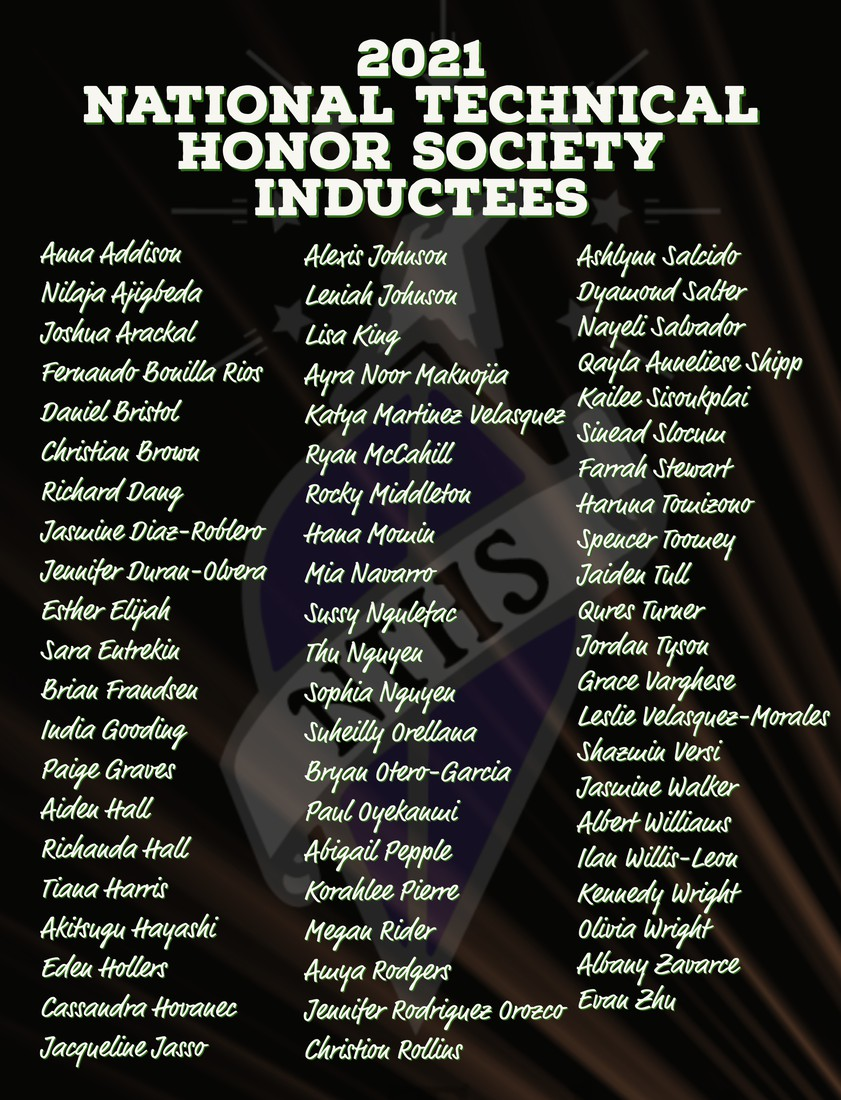 List of Maxwell's 2021 National Technical Honor Society Inductees