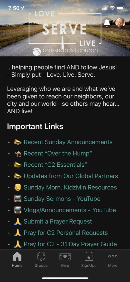 Click Here to Install Church Center