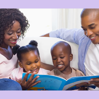 Image of family, parents and young children reading together