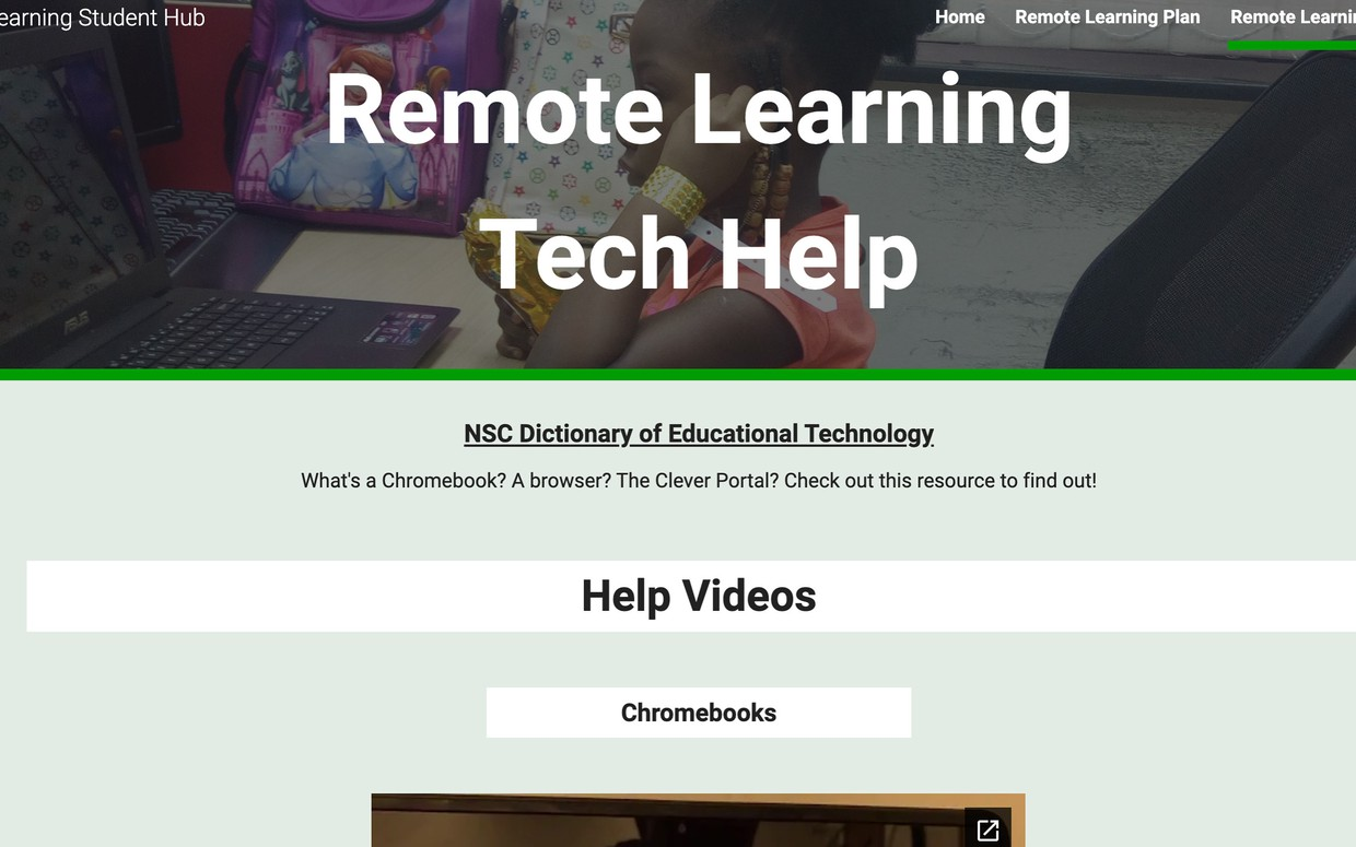 remote learning student hub