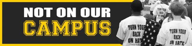 """banner for not on our campus campaign with students wearing """"turn your back on hate"""" t-shirts"""