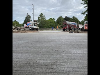 Cement work being completed outside