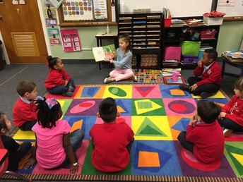 Molly McGuinness Reading to Mrs. Hill's PK4 class