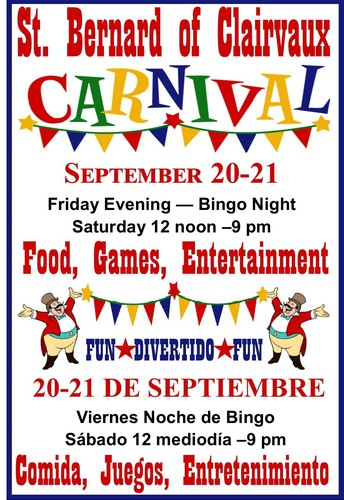 Church Carnival - Friday, September 20th - Saturday, September 21st