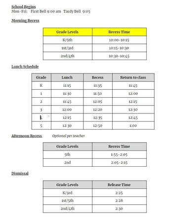 2020/2021 Bell Schedule (YELLOW PHASE)