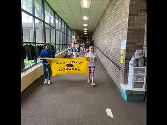 Walk-a-thon starts down the main hallway!