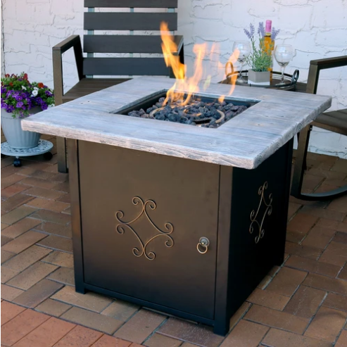 Sunnydaze Outdoor 30-Inch Square Propane Gas Fire Pit Table with Lava Rocks