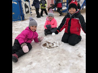 Kindergarten imaginative, outdoor play! Having a bonfire and roasting marshmellows!