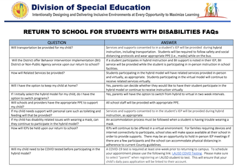FAQ for Parents of Students with Disabilities