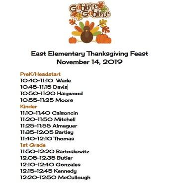 East Elem Thanksgiving Feast Schedule