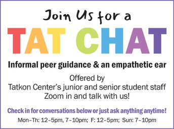 Rely on Tatkon Center student staff for guidance and support during the upcoming exam period!