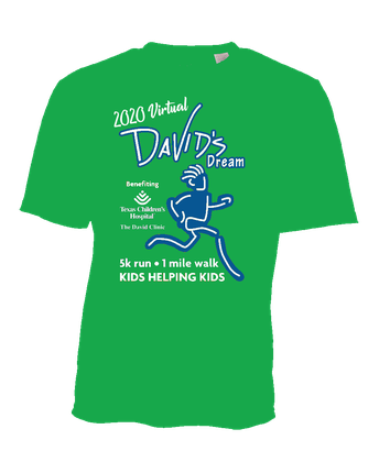 2020 VIRTUAL DAVID'S DREAM RUN -- REGISTRATION DEADLINE FOR A GUARANTEED T-SHIRT IS TODAY, OCTOBER 15TH