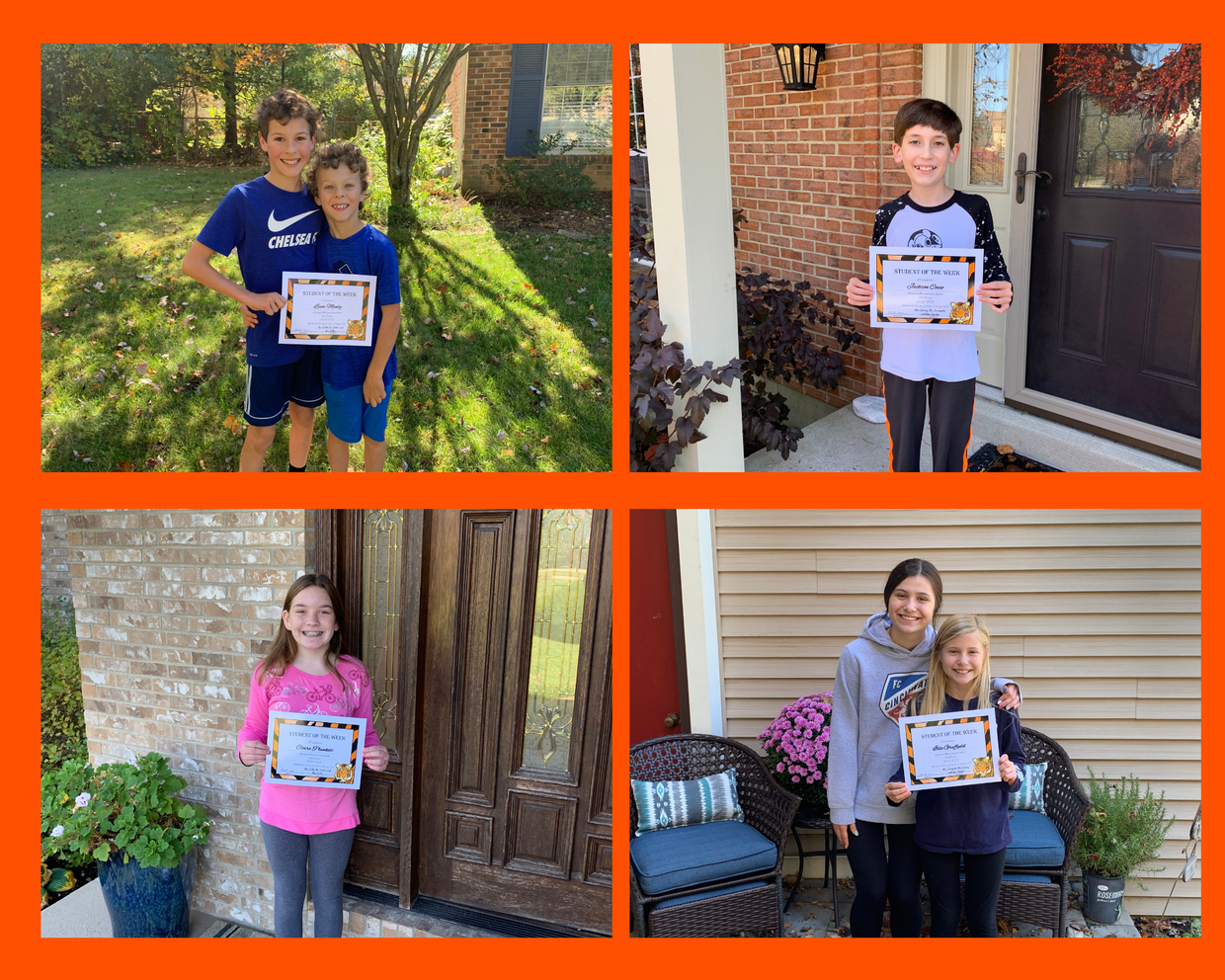 Loveland Intermediate School Remote Students of the Week with certificates