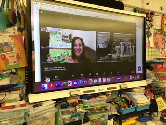 An author virtually visits an ISD classroom during World Read Aloud Day