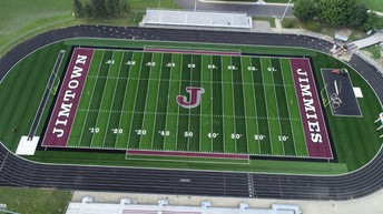 An aerial view of the new multi-use athletic field