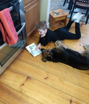 Reading to the pup
