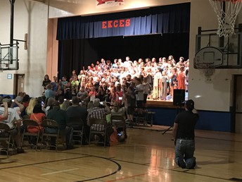"Fourth and Fifth Grade performing at the ""Forever Surf and Rock n Roll"" musical."