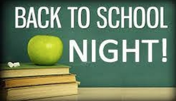 Back to School Night is Tuesday, September 15th.