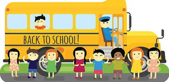 illustration of students and a school bus