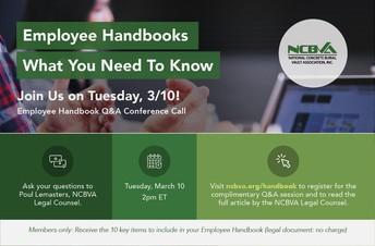 Coming soon!  Employee Handbooks ARTICLE & Con Call