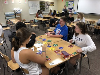 Students in Mrs. Lubbers' IES engage in brain games extension