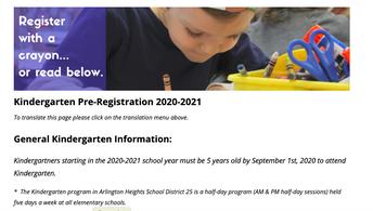2020-2021 Kindergarten Pre-Registration is NOW OPEN!